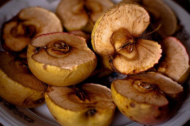 piure de dovleac și măr copt